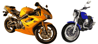 Graphic showing 2 types of motorcycles; a crotch rocket and a cruiser.