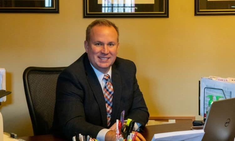 Injury lawyer Christopher Jackson in his law office's cambers.