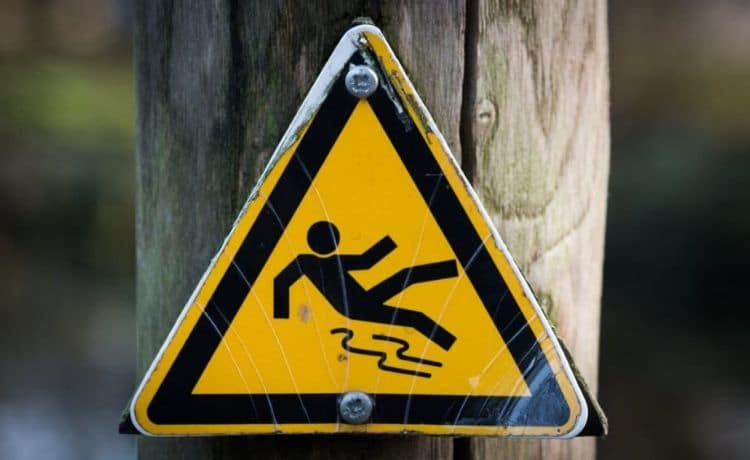 Posted slip and fall street sign.